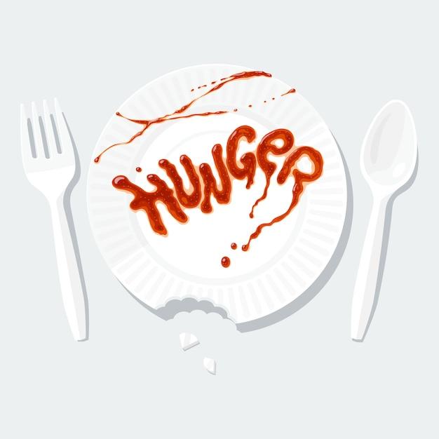 Hunger. schriftzug mit ketchup auf dem pappteller. plastikgabel und löffel. plattenkante ist gebissen und hat spuren von zähnen. lustige metapher über schlechten restaurantservice oder launischen besucher. Premium Vektoren