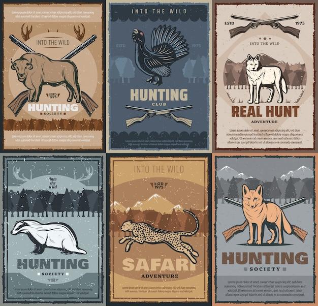 Hunter club, jagdsaison abenteuer wilde tiere Premium Vektoren