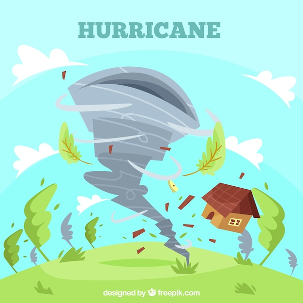 Hurrikan-design im flachen stil Kostenlosen Vektoren
