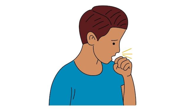 Husten mann kranke person mit kalter grippe und virus Premium Vektoren