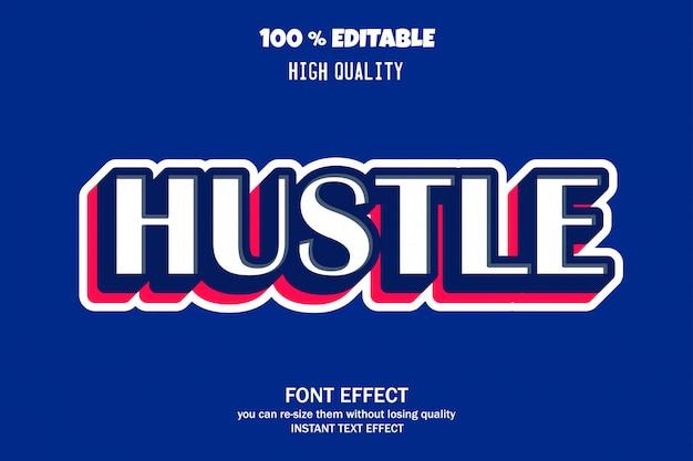 Hustle-text, bearbeitbarer font-effekt Premium Vektoren