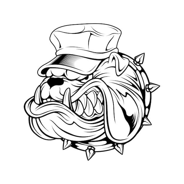 Hut-handzeichnung der bulldogge tragende Premium Vektoren