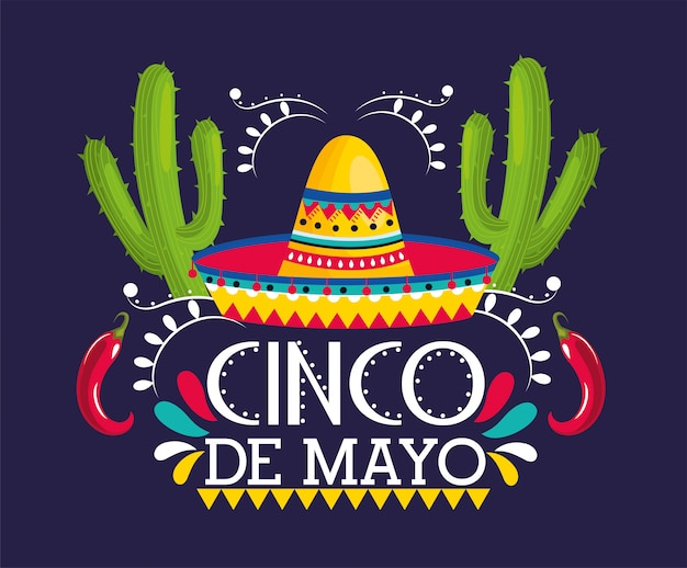 Hut mit kaktuspflanzen zu mexikanischem ereignis Premium Vektoren