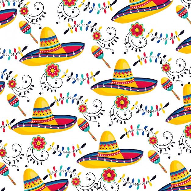 Hutmuster der mexikanischen kultur Premium Vektoren