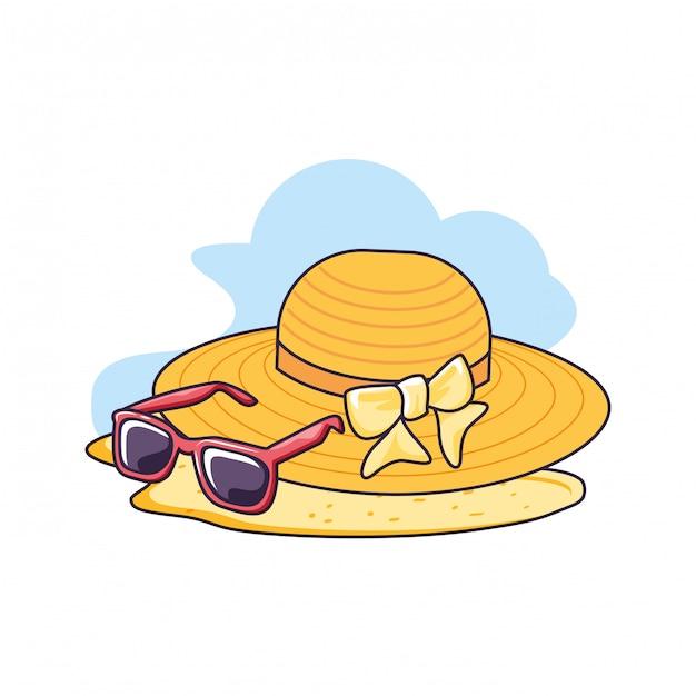 Hutweide im strand mit sonnenbrille Premium Vektoren