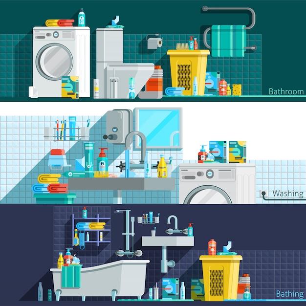 Hygiene-ikonen-flache horizontale fahnen Kostenlosen Vektoren