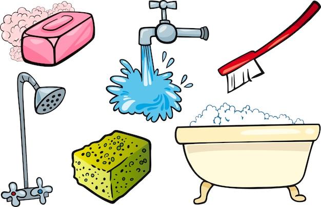 Hygiene-objekte-cartoon-illustration-set Premium Vektoren