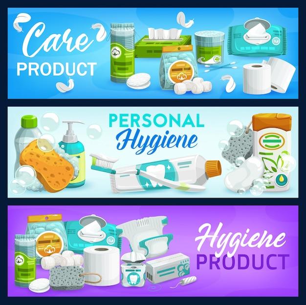 Hygiene, pflegeprodukte. seife, toilettenpapier und shampoo, bürste, zahnpasta und reinigungstücher, flüssige schaumflasche, duschgel. körper- und gesundheitskosmetik, körperpflege, tägliche pflege Premium Vektoren