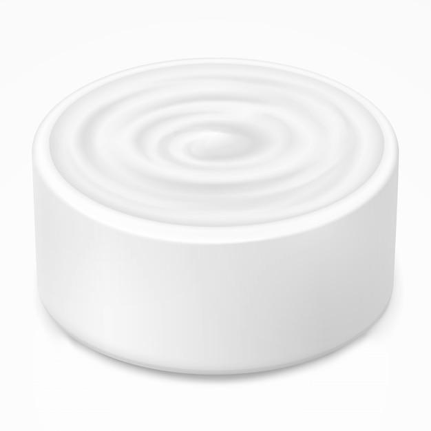 Hygienecreme, gel im weißen glas Premium Vektoren