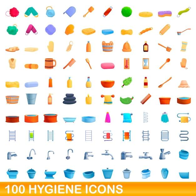 Hygienesymbole eingestellt. karikaturillustration von hygienesymbolen auf weißem hintergrund eingestellt Premium Vektoren