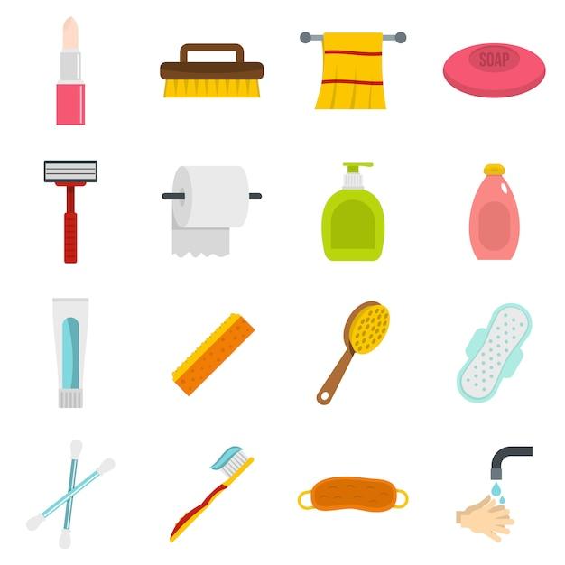 Hygienewerkzeugikonen eingestellt in flache art Premium Vektoren