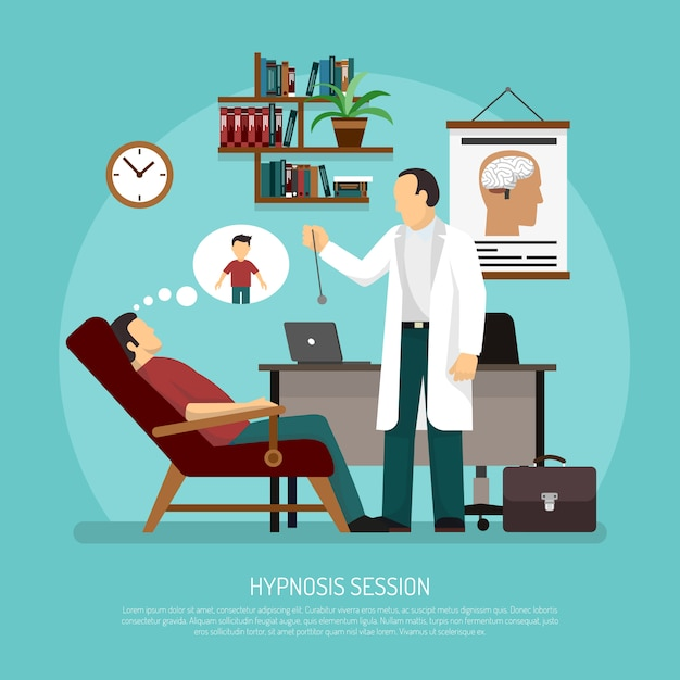 Hypnose-sitzungs-vektor-illustration Kostenlosen Vektoren