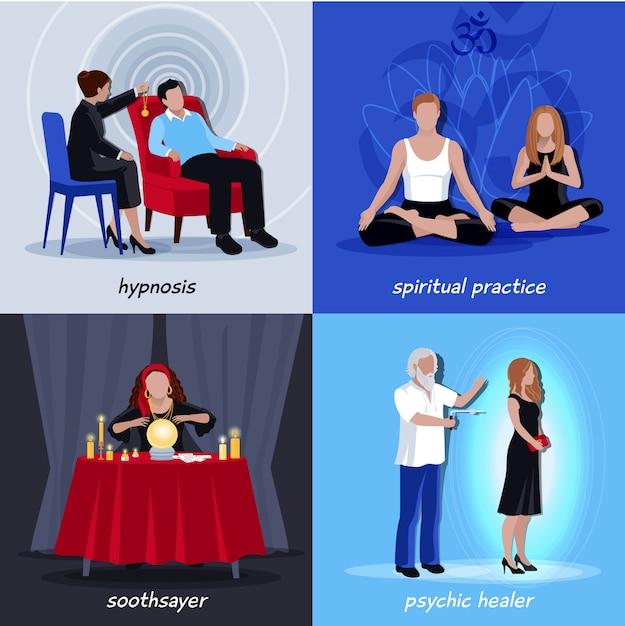 Hypnotism extrasensory icon set Kostenlosen Vektoren