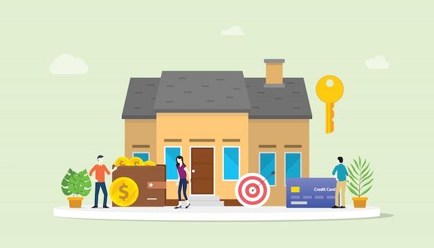 Hypothekendarlehen oder hausimmobilienkauf mit leuten und haus Premium Vektoren