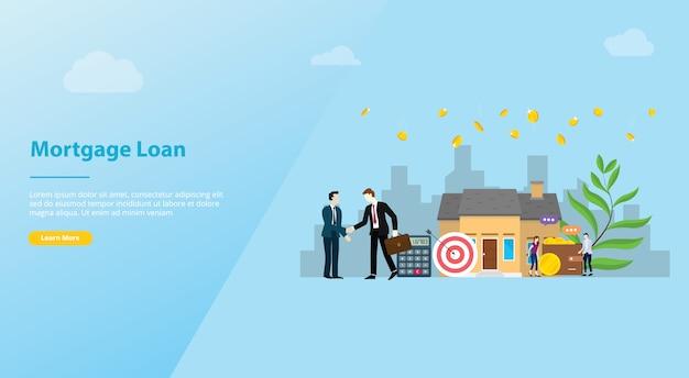 Hypothekendarlehen website vorlage banner oder landung homepage Premium Vektoren