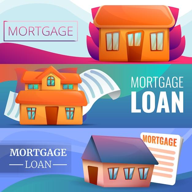 Hypothekenfahnensatz, karikaturart Premium Vektoren