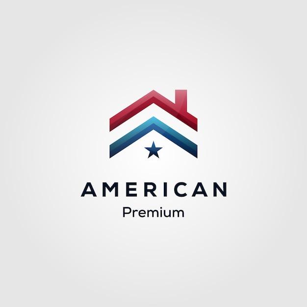Hypothekenlogo des amerikanischen flaggenhauses Premium Vektoren