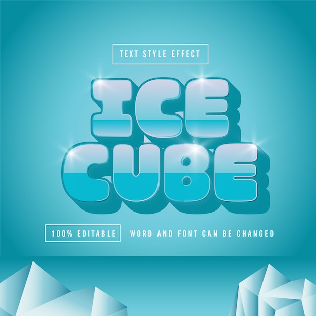 Ice cube text effect kostenloser premium-download-vektor Premium Vektoren