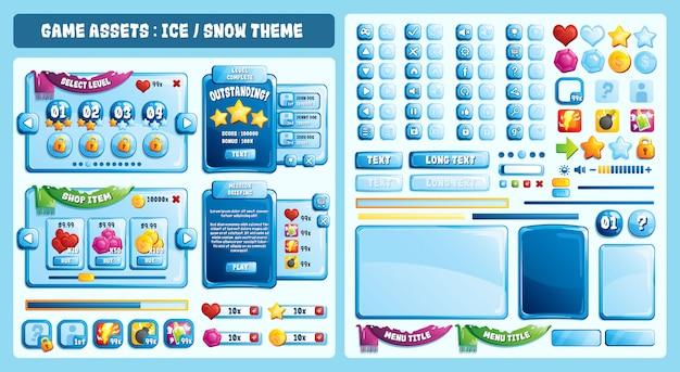 Ice theme game assets Premium Vektoren