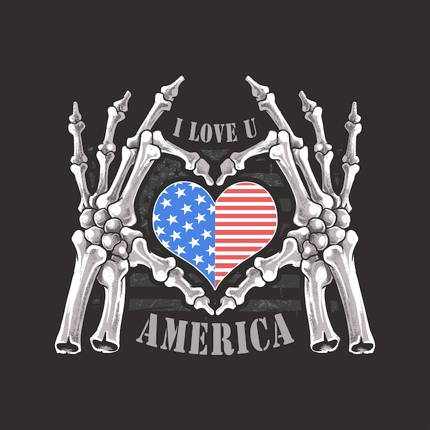 Ich liebe dich amerika usa für immer skelett-schädel-knochen-handgestaltung Premium Vektoren