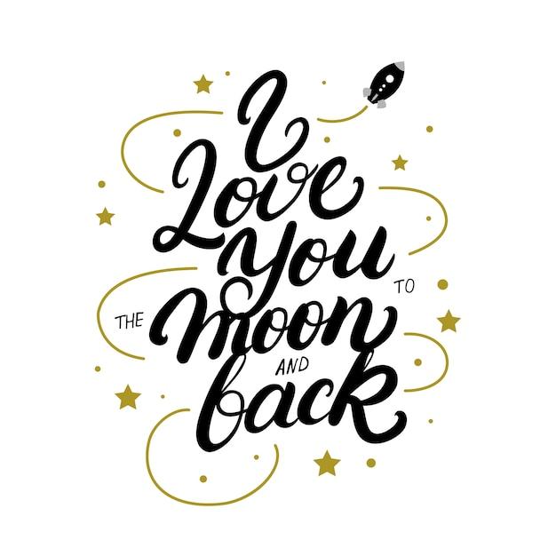 Ich liebe dich bis zum mond und zurück handgeschriebenes