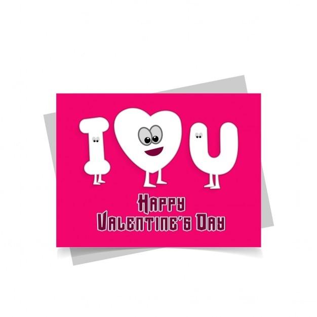 Ich Liebe Dich Cartoon Valentinstag Karte Kostenlose Vektoren