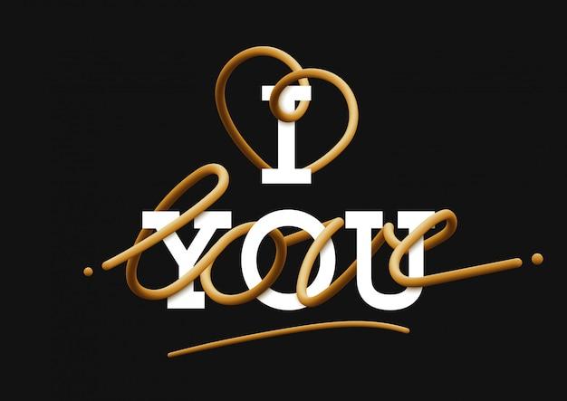 Ich liebe dich gold schriftzug Premium Vektoren