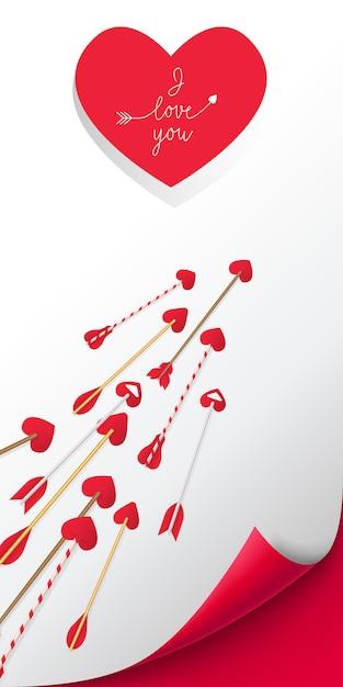 Ich liebe dich im roten herzen beschriftend. pfeile auf weißem hintergrund Kostenlosen Vektoren