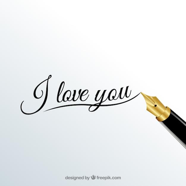 Ich liebe dich kalligraphie Kostenlosen Vektoren