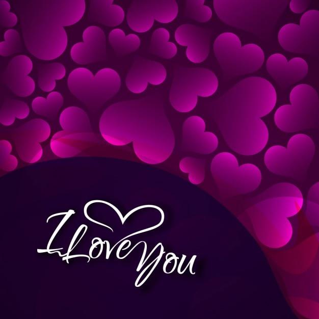 Ich Liebe Dich Karte Mit Lila Herzen Download Der Kostenlosen Vektor