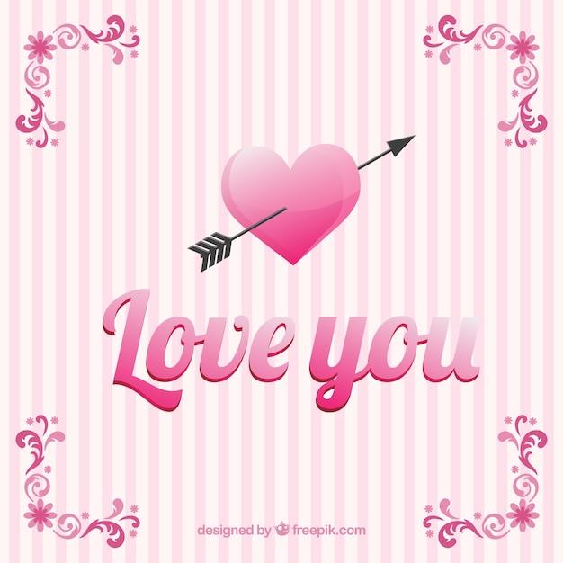 ich liebe dich karte mit rosa strippes download der kostenlosen vektor. Black Bedroom Furniture Sets. Home Design Ideas