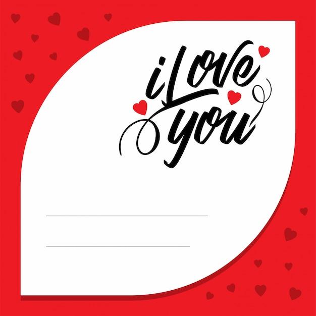 Ich Liebe Dich Mit Rotem Musterhintergrund Download Der