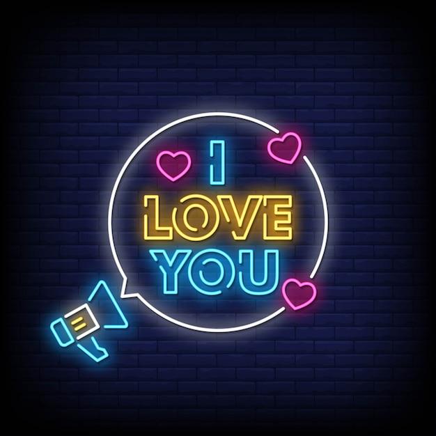 Ich liebe dich neon signs style text Premium Vektoren