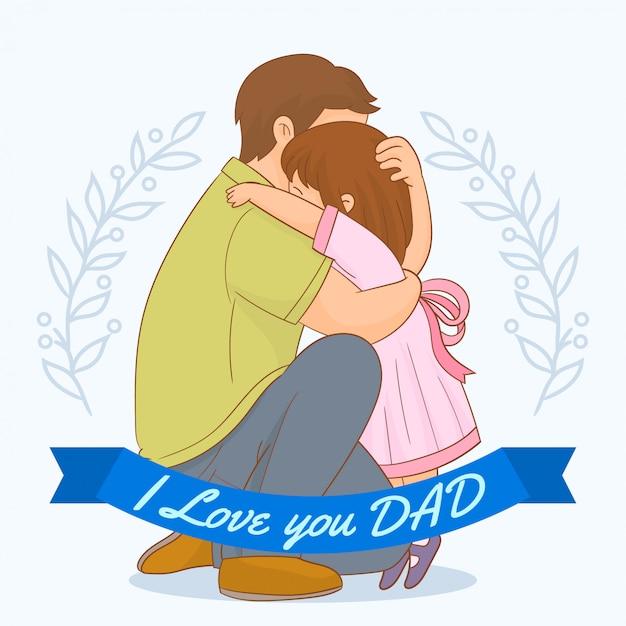 Ich liebe dich papa! Premium Vektoren