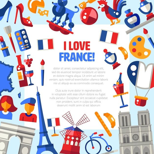 Ich liebe frankreich mit sehenswürdigkeiten und berühmten französischen symbolen Premium Vektoren