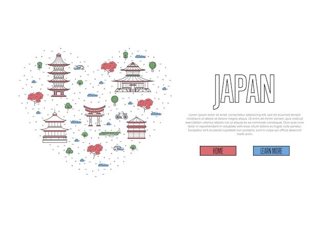 Ich liebe japan-vorlage im linearen stil Premium Vektoren