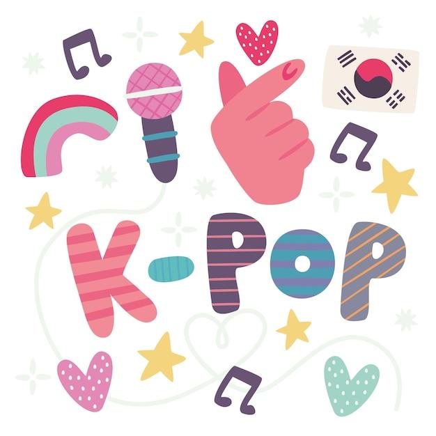 Ich liebe k-pop musik schriftzug Kostenlosen Vektoren