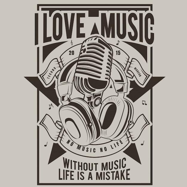 Ich liebe musik, poster von mikrofon und kopfhörer Premium Vektoren