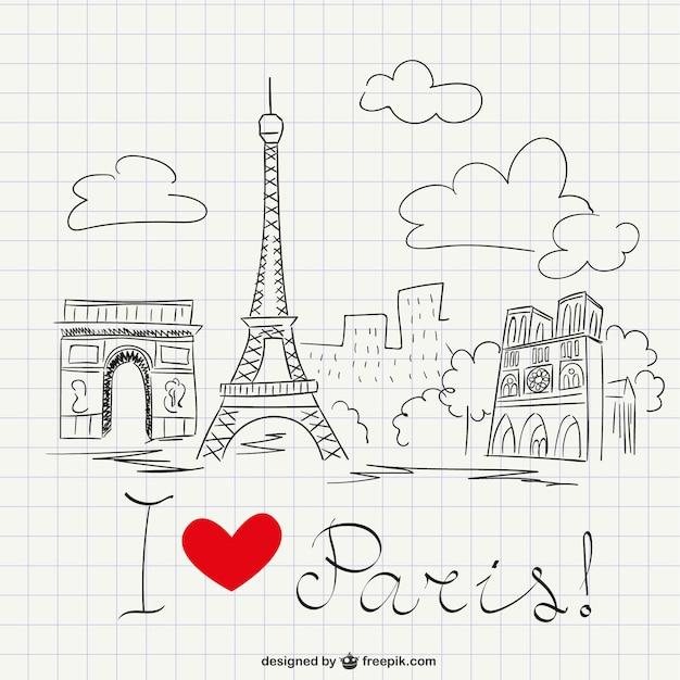 Ich liebe paris-skizze Kostenlosen Vektoren
