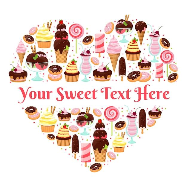 Ich liebe süßigkeiten herzförmige vektor-design mit copyspace für text aus bunten eis glasiert und gefroren kuchen gebäck süßigkeiten und desserts auf weiß gebildet Kostenlosen Vektoren