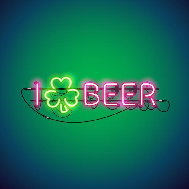 Ich mag bier neon sign Premium Vektoren
