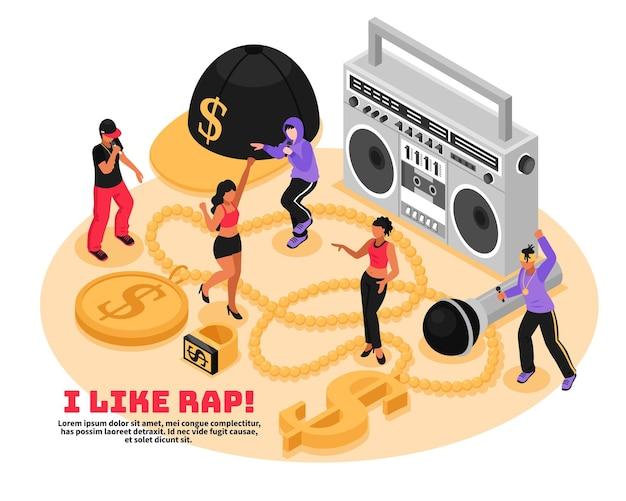 Ich mag rap retro-konzept mit kassetten-mikrofon singen und tanzen teenager isometrisch Kostenlosen Vektoren