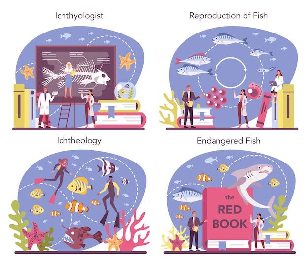 Ichthyologe konzept gesetzt. wissenschaftler der meeresfauna. praktisches studium des zoologiezweigs, das sich dem studium der fische widmet. schutz gefährdeter arten. isolierte vektorillustration Premium Vektoren