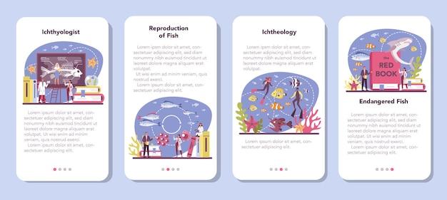Ichthyologist mobile application banner set. ö Premium Vektoren