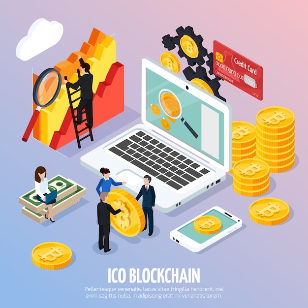 Ico blockchain concept isometric composition Kostenlosen Vektoren