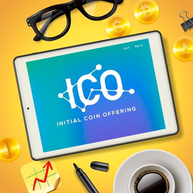 Ico initial coin bietet business internet-technologie. konzept auf einem bildschirm des tablettgeräts, illustration. Premium Vektoren