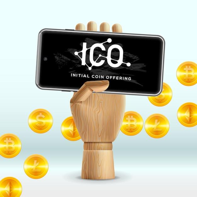 Ico initial coin offering business internet-technologie-konzept auf einem bildschirm des smartphone-geräts, abbildung. Premium Vektoren