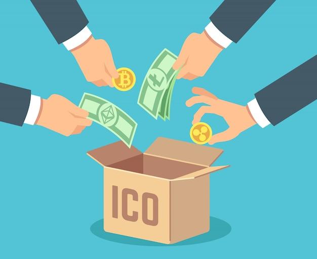 Ico. token bank, blockchain-technologie, ethereum und bitcoin-crowdfunding. Premium Vektoren