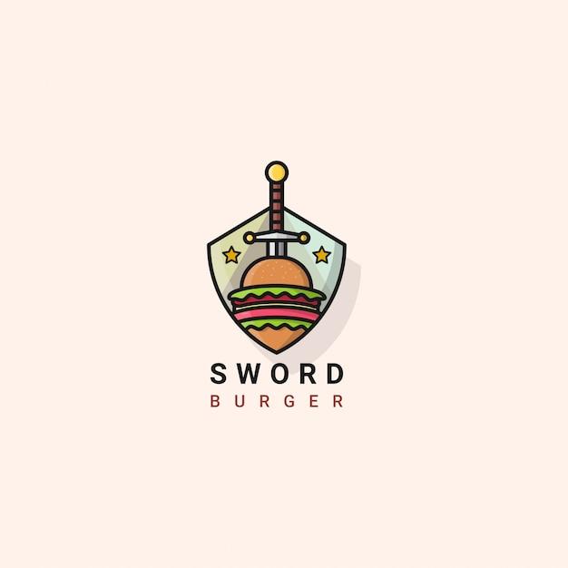 Icon logo schwert burger Premium Vektoren