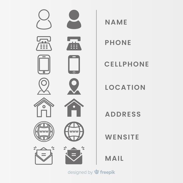 Icon Sammlung Für Visitenkarte Kostenlose Vektor